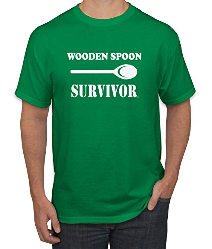 Wooden Spoon Survivor | Mens Humor Graphic T-Shirt, Kelly, Large