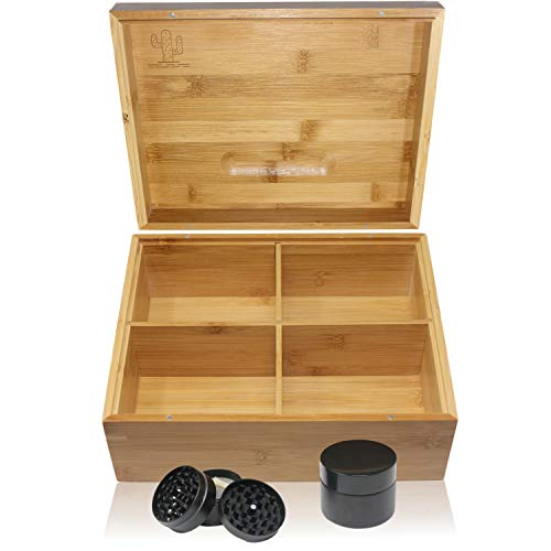 TERRA HOME Stash Box Combo - Large Wooden Storage Stash Box with Tray, 4 Piece Herb Grinder, Stash Jar - Premium Bamboo Organizer with 2 Removable Dividers (Best Way To Stash Weed)