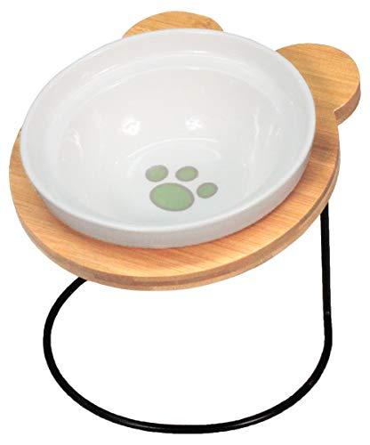 PetStyle エサ皿 フードボウル 犬 猫 陶器 食器台 アイアンバンブースタンド シングル (肉球柄)
