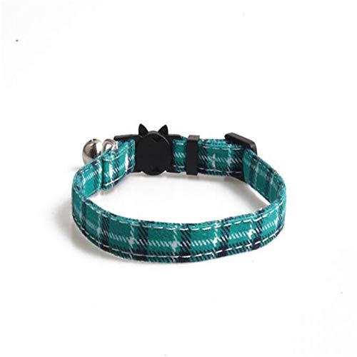 Eqarp Grünes Katzenhalsband, für Katzen und Hunde, kariert, verstellbar, mit...
