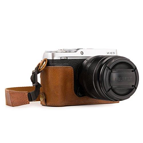 MegaGear Ever Ready Custodia metà copertura in Vera pelle per Fotocamera con Tracolla Fujifilm X-E3 - Marrone - MG1343