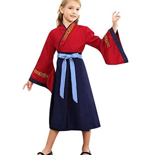 EMIN Mulan - Disfraz de nia china tradicional para Halloween, fiestas, carnaval, fiesta de disfraces, mulan 2020