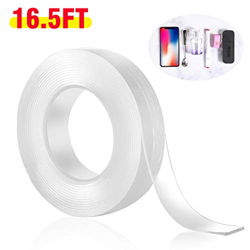 Double Sided Tape Heavy Duty Adhesive Mounting Carpet Tape, Removable Traceless Washable Reusable Gel Grip Sticky Tape, Anti-Slip Gel Tape 16.5FT