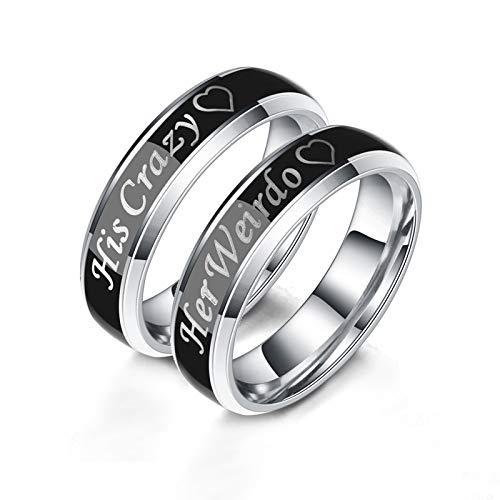 ANAZOZ Paar Ringe Edelstahl Gravur Her Weirdo His Crazy Temperatur Ändernde Verfärbung Ring Partnerringe Ring Herren Bier Ring Herren Tier für Frauen und Männer Damen 60 (19.1) & Herren 57 (18.1)