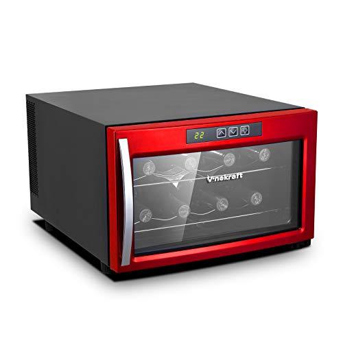Vinekraft 8 Bottles Wine Cooler Thermometric Countertop Freestanding Wine Fridge Stainless Steel Cellar Refrigerator - Red