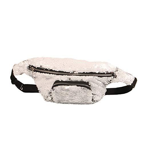 Hmg Bolso de Cintura de Lentejuelas Bolso de Maquillaje de Doble Color Bolso de Sirena Paquete de Cofre Bolso de Mujer móvil Que viaja for Mujer (Luz Azul Hielo) (Color : White)