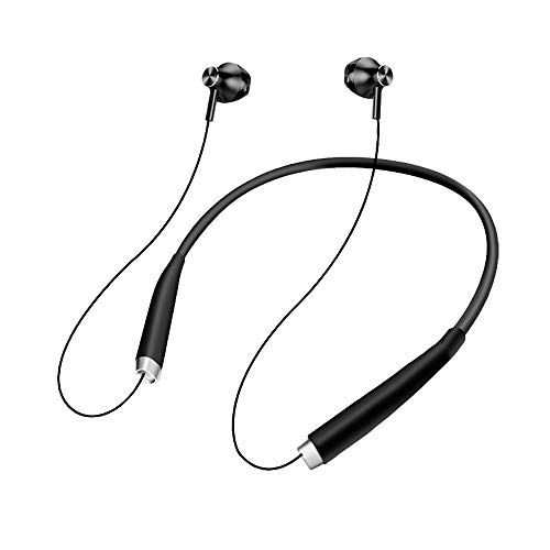 IHAO Wireless Bluetooth Earphones with Mic HiFi Bass Stereo Sound Headphone IPX5 Waterproof Magnetic Attraction Foldable Neckband Noise Reduction Headset for Gym 10~12 Hours Playtime