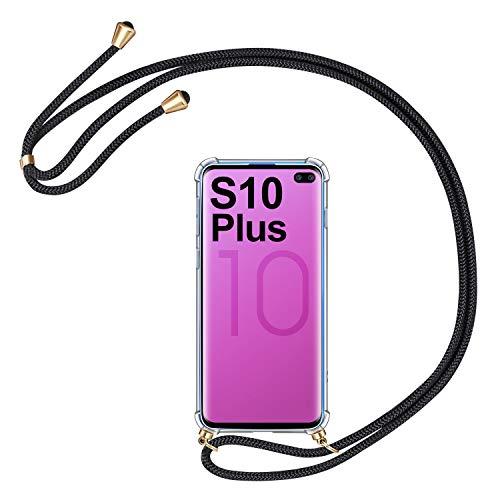 AROYI Handykette Handyhülle für Samsung Galaxy S10 Plus Hülle mit Kordel zum Umhängen Necklace Hülle mit Band Schutzhülle Transparent Silikon Acryl Case für Samsung Galaxy S10 Plus