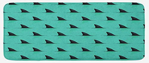 Lunarable Marine Kitchen Mat, Shark Fins in The Sea Danger in Ocean Scary Creature Swimming Illustration, Plush Decorative Kitchen Mat with Non Slip Backing, 47