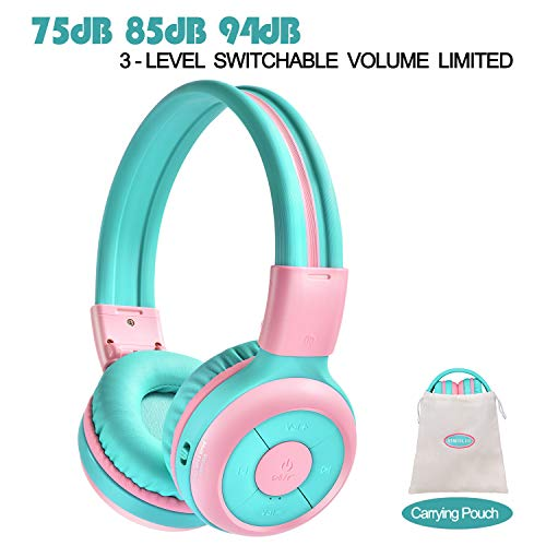 SIMOLIO Kids Bluetooth Headphones with 94dB,85dB,75dB Volume Limited & Share Port, Bluetooth Children Headphones for School & Travel, Durable Kids Headphones with Portable Bag for Girls, Boys, School