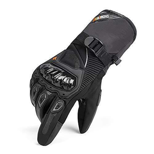 Guanti Moto Invernali Uomo, Impermeabili Guanti da Moto Touch Screen Hard Knuckle Protettivo per Motocross Motociclista Uomo Donna Nero XL