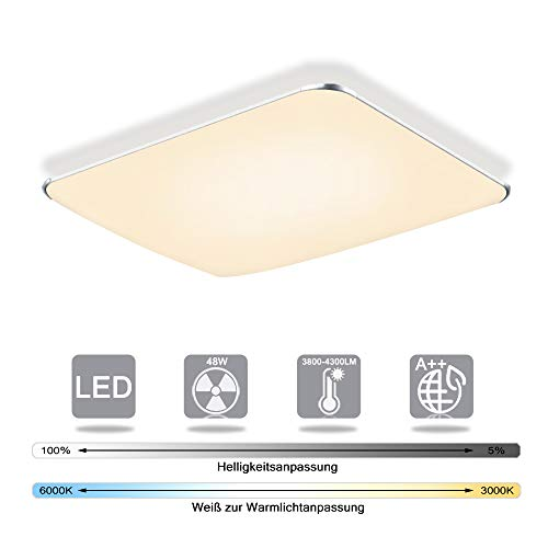 Froadp 48W Ultraslim LED Deckenleuchte Flur Wohnzimmer Kinderzimmer Wand-Deckenlampe Schlafzimmer Küche Licht(48W Dimmbar)