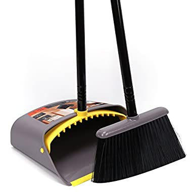 Dust Pan and Broom Combo Set/Long Handle Standing Upright Dustpan with Broom for home office Industry Lobby floor Sweeping