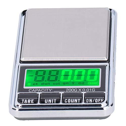 Báscula de peso, báscula, báscula de bolsillo con retroiluminación verde con función de tara para el hogar(0.01/600G)
