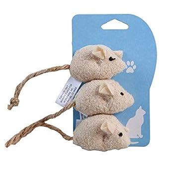 Lot de 3 jouets en peluche pour chat en forme de souris avec bruit de couinement et de grattage