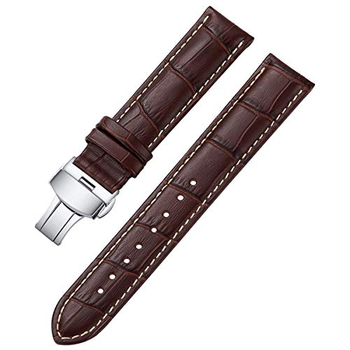 iStrap Leather Watch Band -Alligator Grain Embossed Pattern Calfskin Replacement...