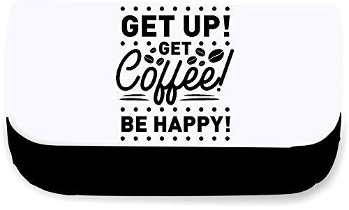 Get up get Coffee be Happy - Caffeine Statement [Insp] Clutch Style Pencil case - Black