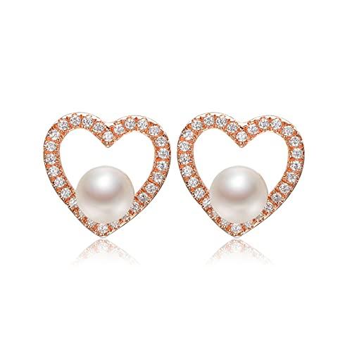 OMTONGXIN Pendientes Pendientes de Perlas 5-6mm Perla Redonda 925 Accesorios de Plata Pendientes en Forma de corazón Joyería for Novia Pendientes de Bola para Mujer