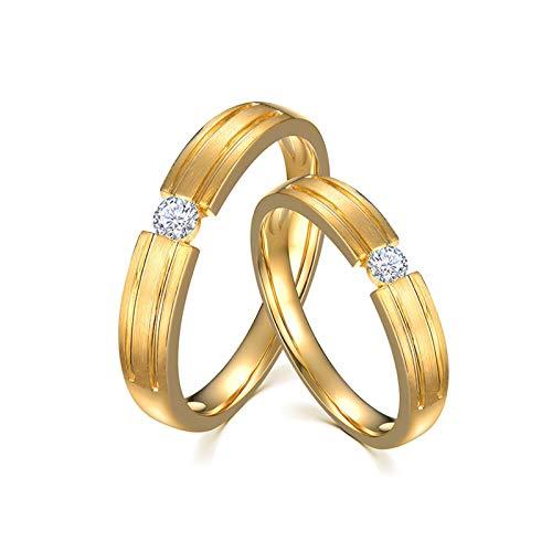 KnSam Anillo Oro de 18K, Redondo Anillo de Compromiso con Diamante Blanco 0.15ct, Mujer Talla 22 y Hombre Talla 21 (Precio por 2 Anillos)