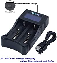 Universal Battery Charger, NTHPO S2 LCD Display IC Protection Smart Intelligent Charger for Rechargeable Li-ion Batteries 21700 20700 26650 22650 18650 18490 18350 17670 17500 16340(RCR123) AA AAA
