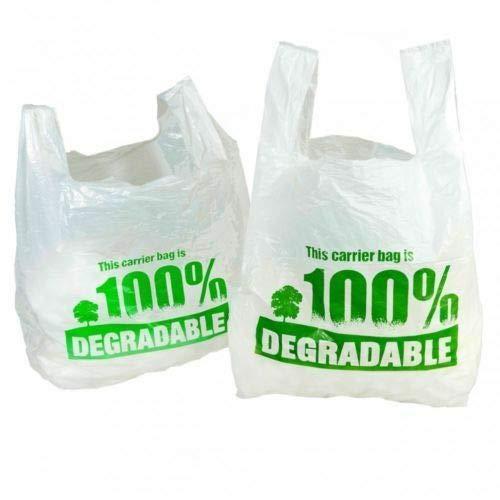 """Sacs de transport 100 % dégradables blancs de 28 x 43 x 53 cm, grands sacs en plastique respectueux de l'environnement, plastique, blanc/vert, 11"""" x 17"""" x21"""""""
