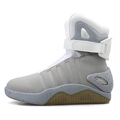 JXILY Zapatos LED Zapatos Ligeros de Carga Zapatos Que Destellan del LED Zapatos Ligeros de Carga por USB Zapatos de los Hombres Superiores Altos Zapatos Casuales,Gris,45