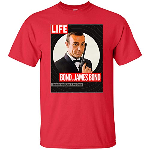 James Bond, Sean Connery, Dr. No, Goldfinger, Thunderball, 007, Life, Magazine Men's T-Shirt,Red,4XL
