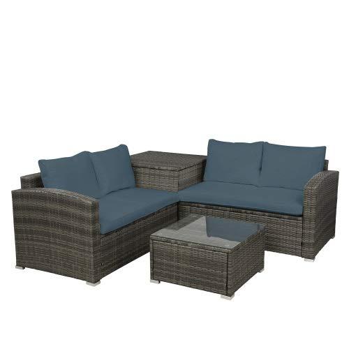 LZZJ Entrega, Pero Toma 3-7 días funcionales, Outside Garden Terraza Sofá de Mimbre Rattan Conjunto de Muebles (cojín de Grises)