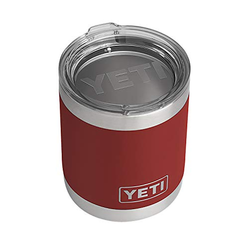 YETI Rambler 10 oz Lowball, Vacuum Insulated, Stainless Steel with Standard Lid, Brick Red