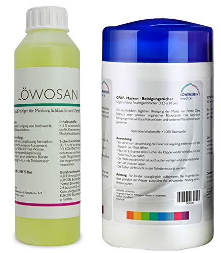 2er Set Löwosan Reinigungsmittel CPAP Spezialreiniger Masken Maskenreiniger und Reinigungstücher für Schlafmasken