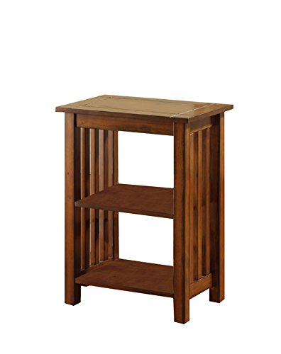 Furniture of America Maina Mission Antique Oak Side Table, Antique Oak