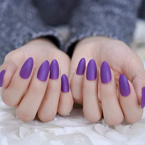 chenche Autocollants à Ongles pour Filles False Nails Deep Lavender Purple Matte Sharp Full Cover Nails and Adhesive