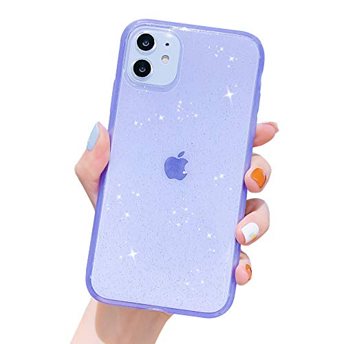 Anynve Compatible with iPhone 11 Case Clear Glitter,Sparkle Bling Case [Anti-Shock Matte Edge Bumper Design] Cute Slim Soft Silicone Gel Phone Case Compatible for Apple iPhone 11 6.1''-Purple