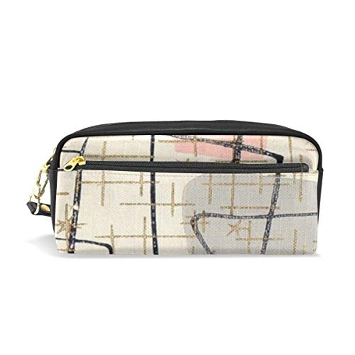 Lawenp Large Capacity Pencil Case and PU Leather Pen Bag Mackay Or Bonnar Tartan Zipper Stationery Supplies Pencil Pouch Comestic Makeup Bag for Girls and BoysLarge Capacity Pencil Case and PU Leath