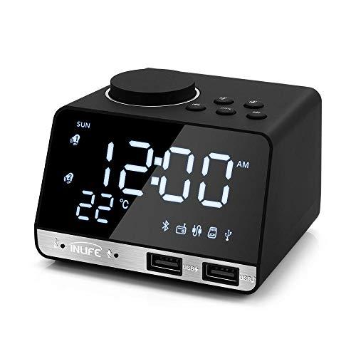 FPRW K11 Bluetooth 4.2 wekker, luidspreker met 2 USB-poorten, led-klok, digitale wekker, tafelklok met herhaling, thuisdecoratie, zwarte stekker