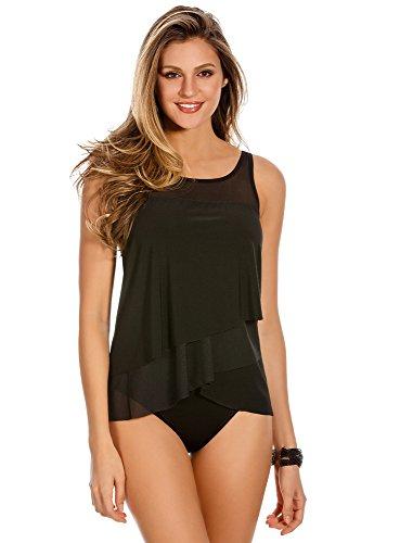 Miraclesuit Women's Swimwear Illusionist Mirage High Neckline Underwire Bra Tankini Bathing Suit Top, Black, 10