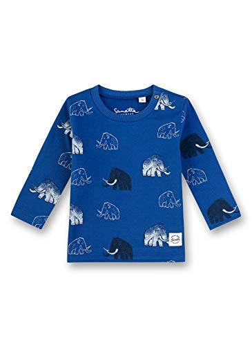 Sanetta Baby-Jungen Shirt Langarmshirt, Blau (Ocean Wave 50071), 68 (Herstellergröße: 068)