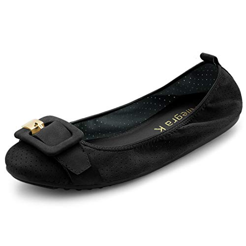 Allegra K Women's Buckle Casual Comfortable Black Ballet Flats Shoes - 7.5 M US