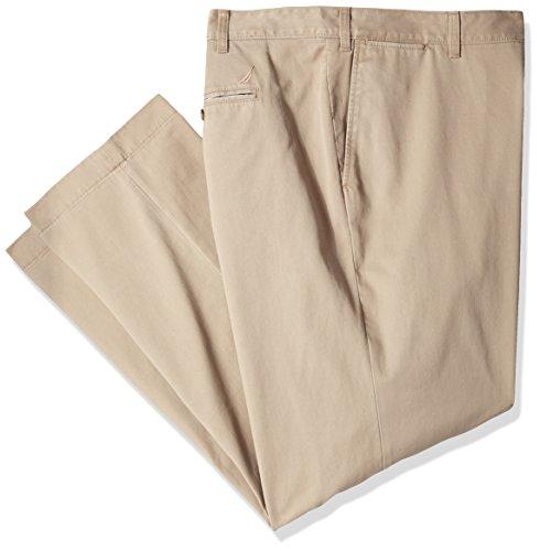 Nautica Men's Big and Tall Twill Flat-Front Pant, True Khaki D83050, 56W x 30L