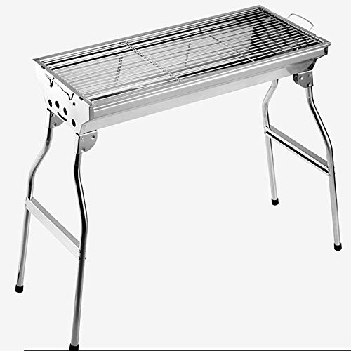 LJYMM - Barbacoa de acero inoxidable para carbón de madera, plegable, portátil, para la cocina al aire libre, camping, senderismo, picnic