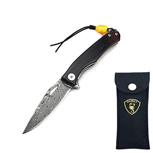 AUBEY Damast Taschenmesser Holzgriff Klappmesser Klein, EDC Messer Mini Damastmesser Holz Einhandmesser Outdoor mit Flipper Pocket Knife (Schwarz)