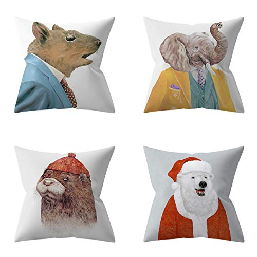 HOUZII Cushion Covers Soft Decorative Square Throw Pillow Cases Animal world home decoration Design For Livingroom with Invisible Zipper 17x17 Inches, 45cmx45cm, Pack of 4