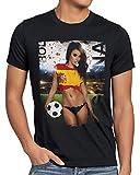 style3 EM 2020 Soccer Girl Deutschland Herren T-Shirt Fußball Trikot Germany Schwarz, Größe:L, Land:Spanien
