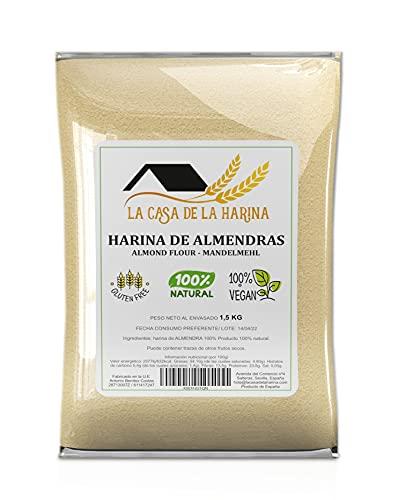 HARINA DE ALMENDRAS (1,5 KG) | PREMIUM | Sin gluten | Apta para dietas Keto (5,4g x 100g carbohidratos) | Apto Vegano | 100% natural | LA CASA DE LA HARINA | Producto de España
