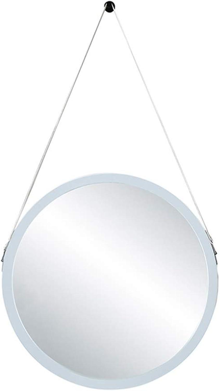 Mirrors Makeup Mirror Simple Wall Round Mirror Wall-mounted Bathroom Bathroom Mirror Vanity Mirror Bathroom Decoration Hanging Mirror White (color   A, Size   60  60cm)