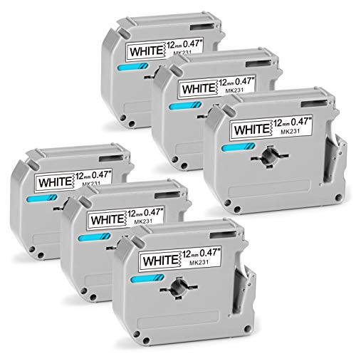 Anycolor Compatible Label Tape Replacement for Brother P Touch M231 M-231 M-K231 12mm 0.47in White M Tape MK231 M-K231s Work with Brother Ptouch PT-M95 PT-90 PT-70 PT-45 PT-65 PT-85, 26.2 Feet, 6-Pack