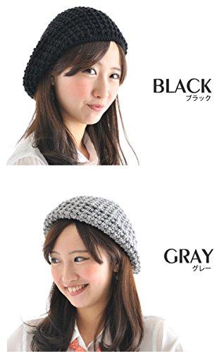(JOIN・K)サマーベレー帽レディース麻混ニットベレーグレー