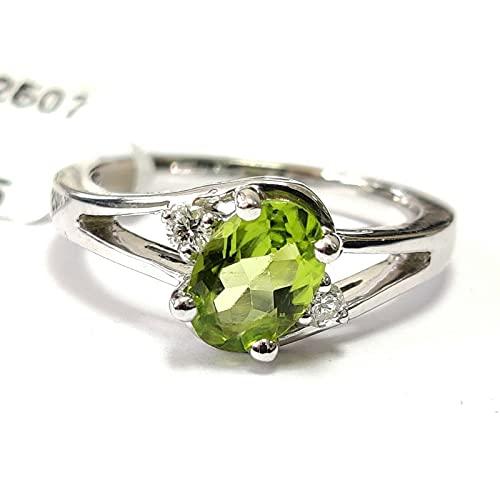 Anillo de diseño de peridoto y diamante lateral de corte ovalado de 1,00 quilates, Peridoto/Olivino,