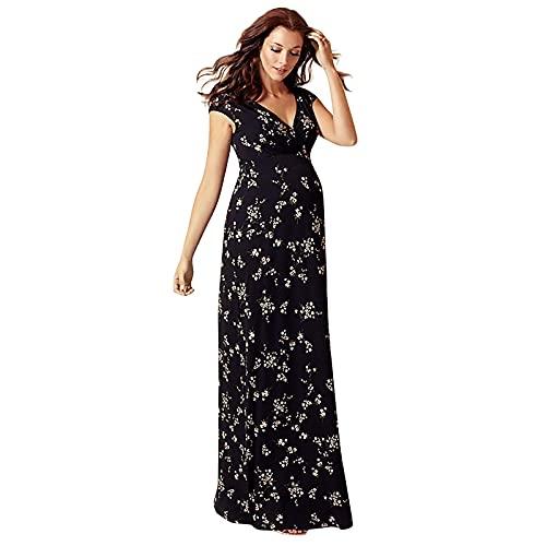 Mujer Embarazada Chifón Largos Vestido,Vestido Largo para Mujer, Vestido de Playa para Mujer Sexy Vestido de Playa con Boho con Cuello en V Falda de Playa