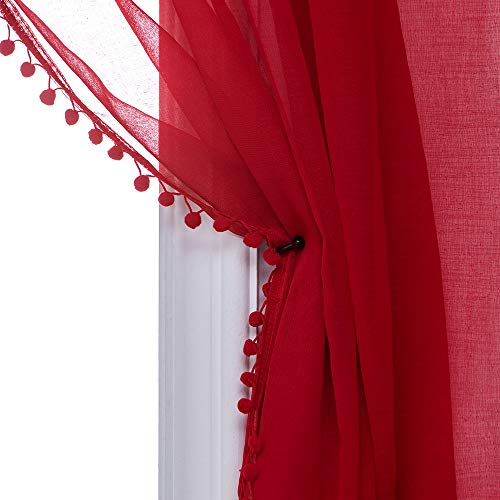 MISS SELECTEX Linen Look Pom Pom Tasseled Sheer Curtains - Rod Pocket Voile Semi-Sheer Curtains for Living and Bedroom, Set of 2 Curtain Panels (52 x 72 inch, True Red)